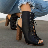 Variedshoes Solid Color Cross Straps Chunky Heel Ankle Boots