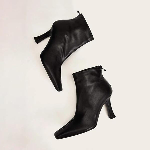 Variedshoes Side Zip Square Toe Ankle Boots