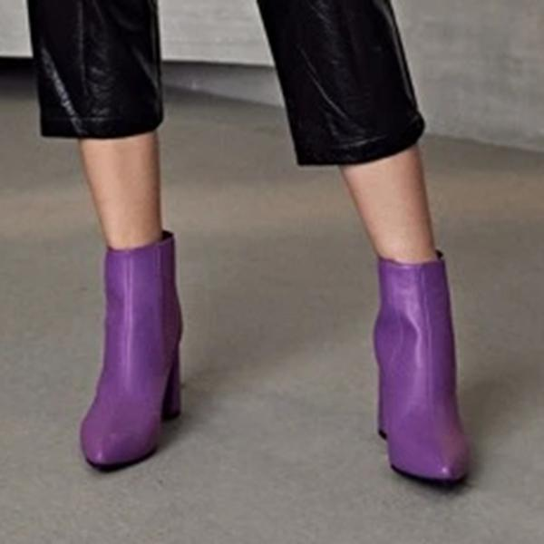 Variedshoes Point Toe Chunky Chelsea Boots