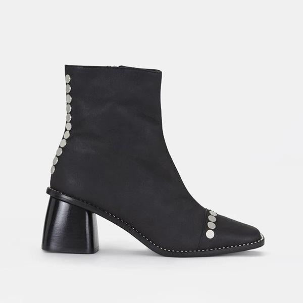 Variedshoes Rivet Square Toe Side-Zipper Chunky Ankle Boots