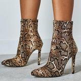 Variedshoes Women Snake Print High Heel Ankle Boots