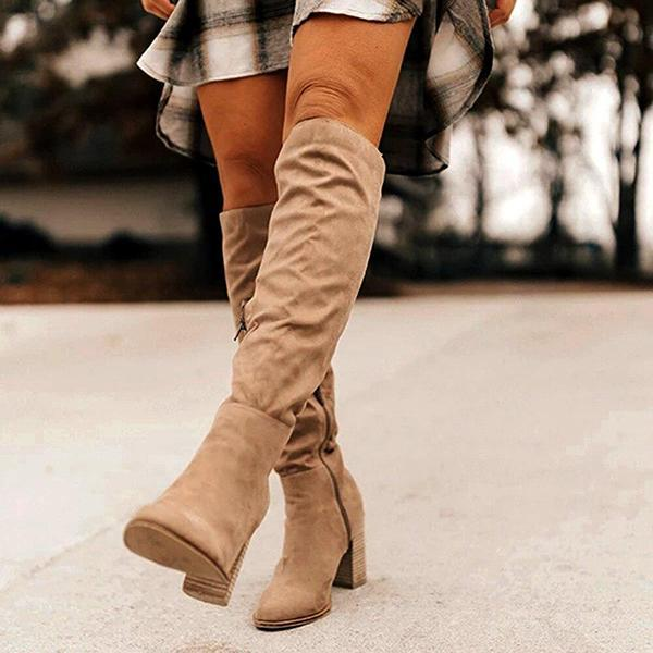 Variedshoes Winter Women'S Boots Solid Square Knee-High With Heels Ladies Boots