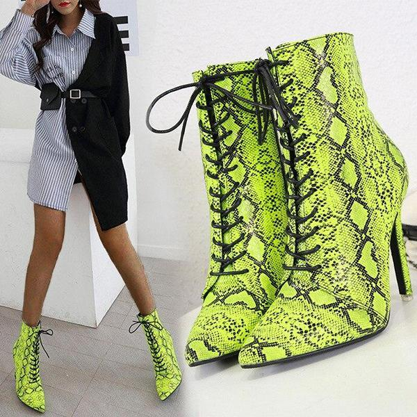 Variedshoes Women Zipper Boots Snake Print Ankle Fashion Pointed Toe Ladies Sexy Boots