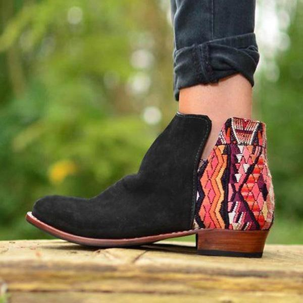 Variedshoes Huipil Suede Chic Boho Ankle Boots