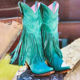 Variedshoes Casual Suede Low Heel All Season Fringed Boots