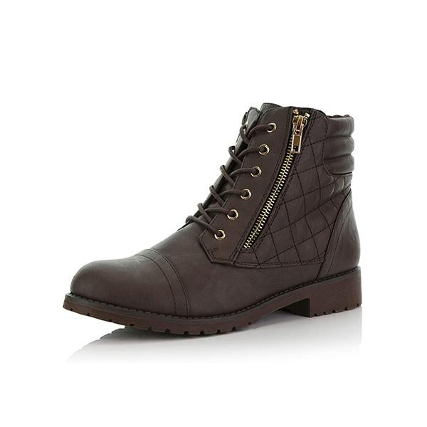 Variedshoes Women'S Military Lace Up Buckle Combat Boots