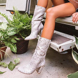 Variedshoes Keep Up Snake Print Boot