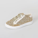 Variedshoes Woman Glitter Bling Lace Up Flat Sneakers