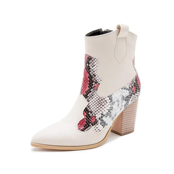 Women's Leatherette Chunky Heel Ankle Boots Pointed Toe With Animal Print Zipper Boots