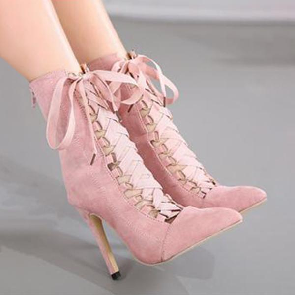 Variedshoes Ribbon Lace-Up Boots