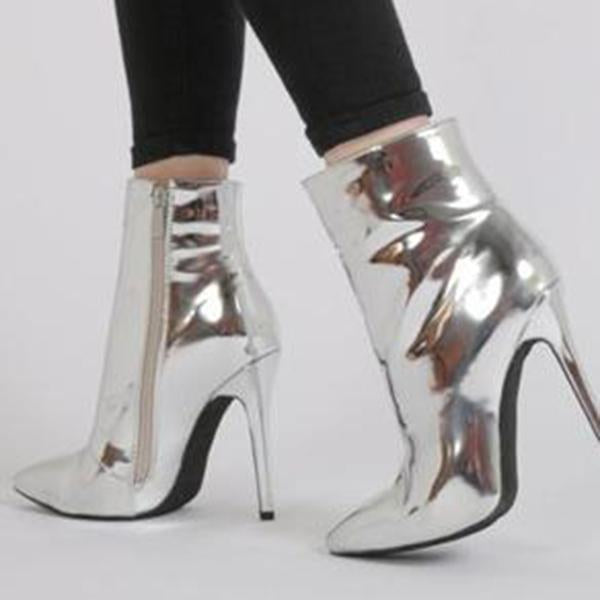Variedshoes Metallic Ankle Boots
