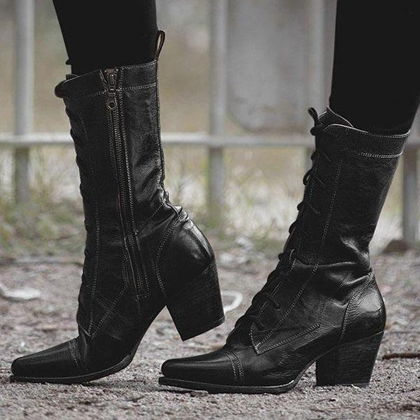 Variedshoes Modern Vintage Boots In Black Rustic Boots