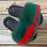 Variedshoes Green Red Fox Fur Slides Sandals For Women Fur Shoes Real Fur Sandals Furry Slides Fluffy Fox Fur Slippers