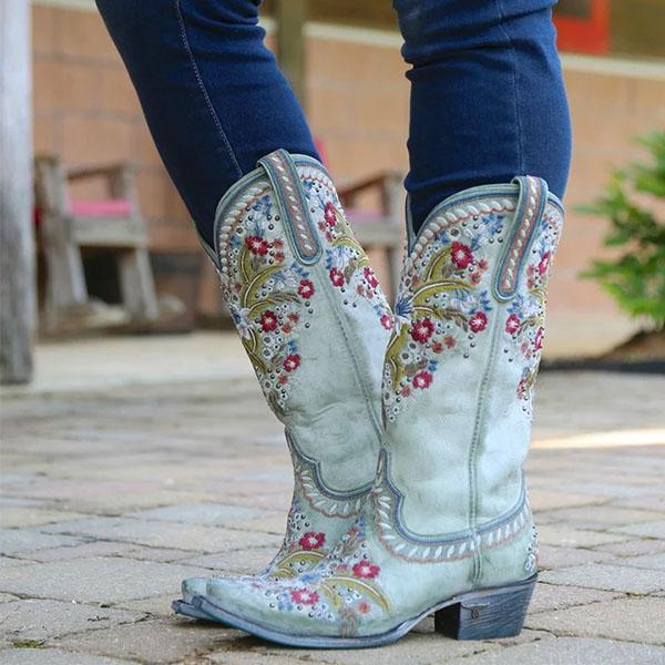 Variedshoes Chunky Heel Embroidered Rivets Mid-Tube Martin Boots