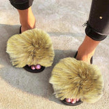 Variedshoes Fur Slides For Women,Fuzzy Sandals Slippers Flip Flop Furry Slippers