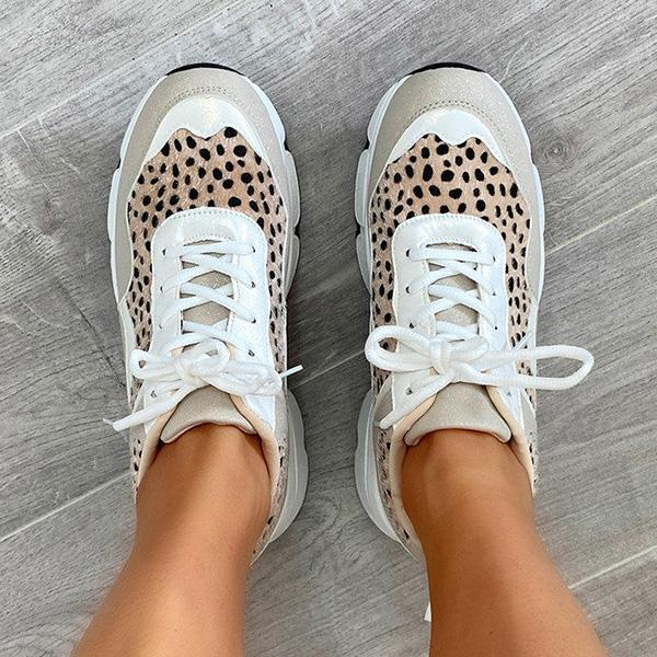 Variedshoes Women Fashion Leopard Printed Lace Up Sneakers