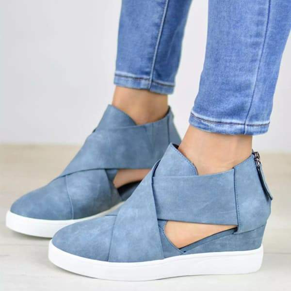 Variedshoes Criss-cross Cut-out Wedge Sneakers
