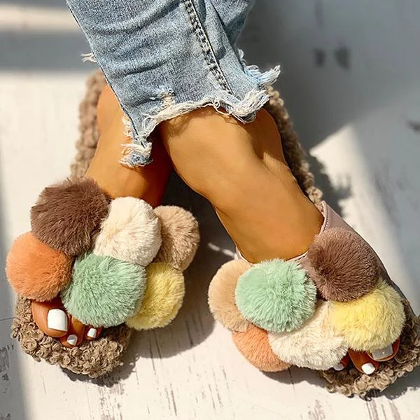 Variedshoes Women Casual Fluffy Cute Flat Slippers