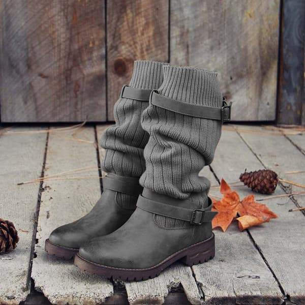 Variedshoes Cabin Sweater Paneled Boots