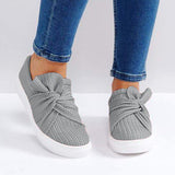 Variedshoes Women Knitted Twist Slip On Sneakers