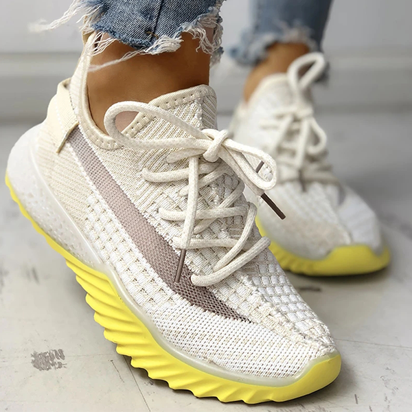 Variedshoes Net Surface Breathable Lace-Up Yeezy Sneakers