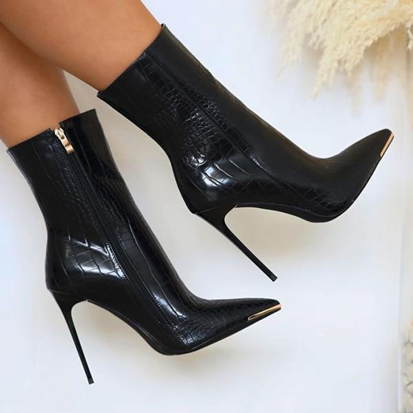 Variedshoes Stiletto Zipper Snake Print Pointed-Toe Boots