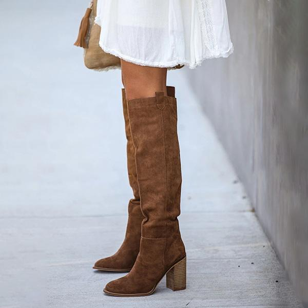 Variedshoes Distressed Faux Suede Slouch Boots