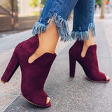 Variedshoes Women Solid Peep Toe Chunky Heeled Boots