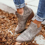 Variedshoes Laser Cutout Ankle Booties