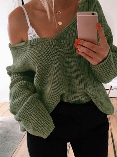 Variedshoes Women Deep V Neck Sweater Tops