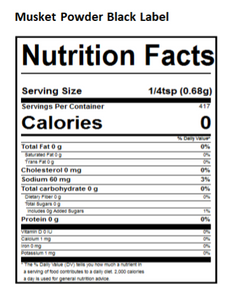 black label nutritional panel