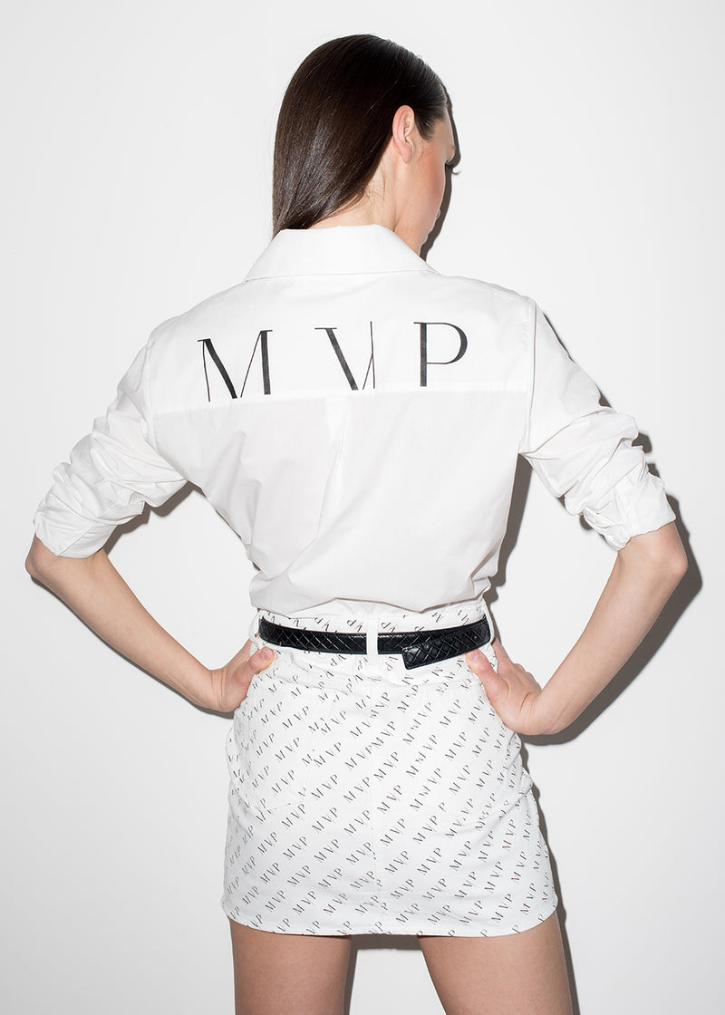Minigonna in denim white con logo MVP all-over