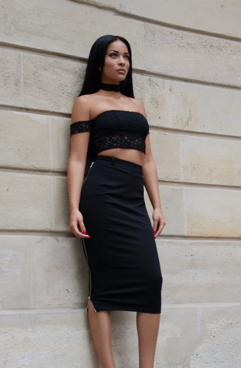 JADE | Black Zipper Skirt
