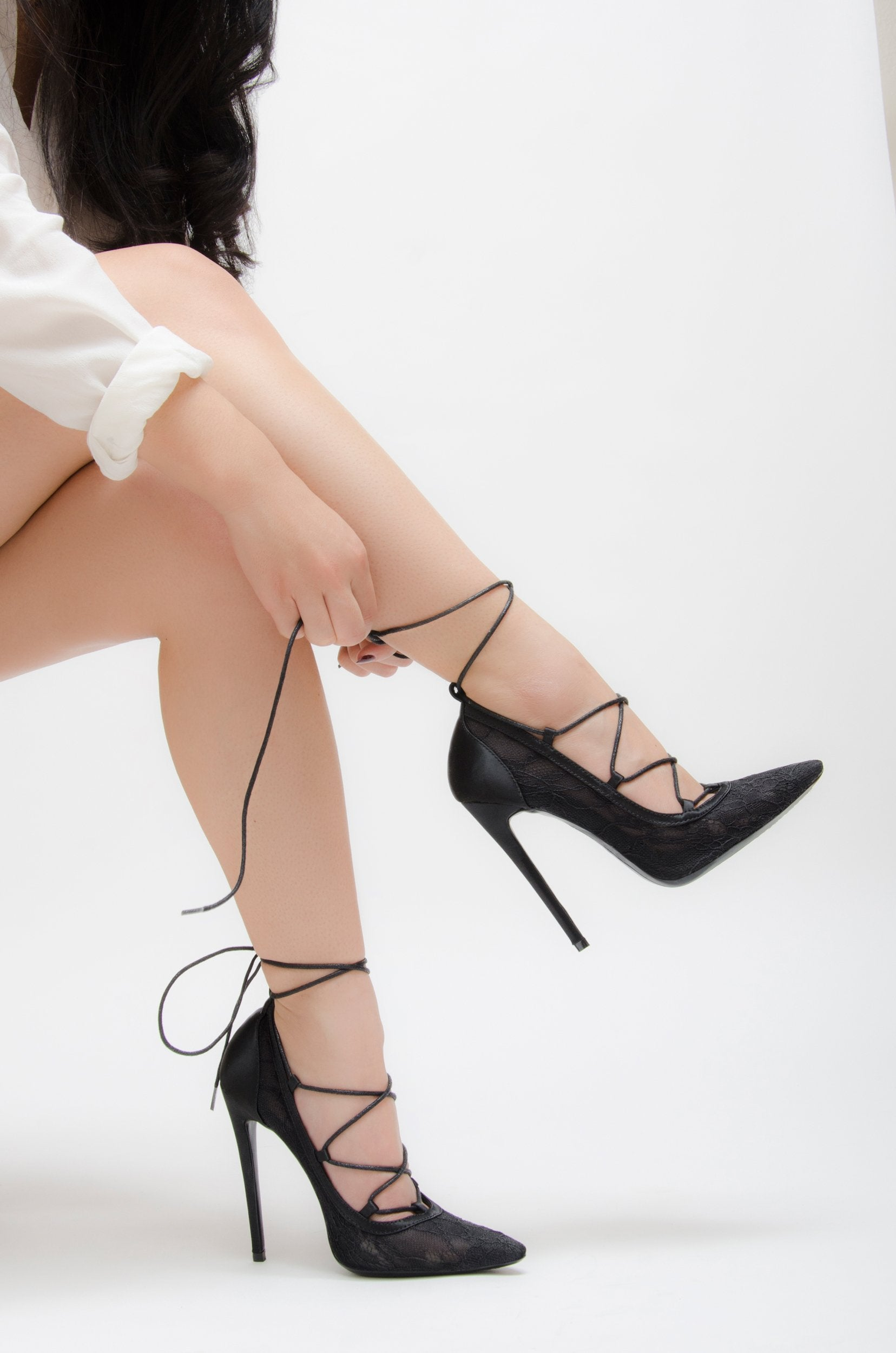 SOFIA | Dentelle & Silk Lace-Up Pumps