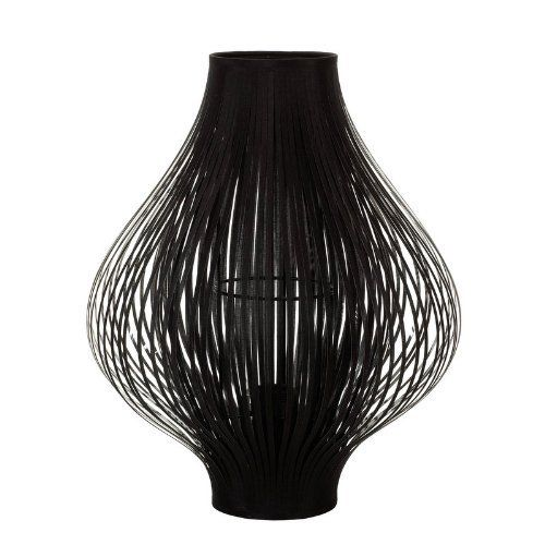 Contemporary Fabric BULB Cut Table Lamp BLACK Unique Stunning