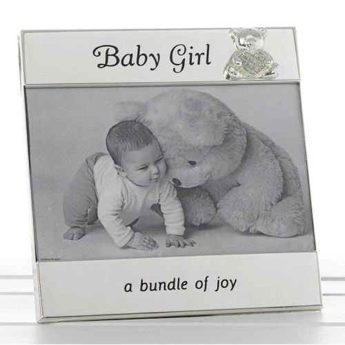 "Baby Gift Baby GIRL Message Photo Frame 6""x4"" Teddy Silver Message"