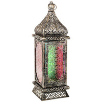 Arabian Lantern Tall Red Vintage Effect Red Green