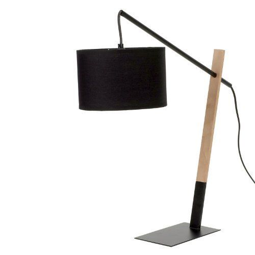 Contemporary 60cm Metal Base with Wood Table Lamp - Black