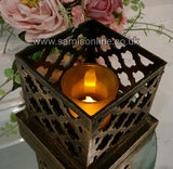 Vintage Arabesque Bronze LED Tea Light Holder Rare