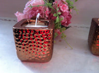 GOLD SQUARE LARGE HAMMERED TEA LIGHT CANDLE HOLDER HOME ORNAMENT GIFT NEW