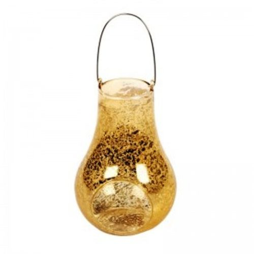 13cm GOLD GLASS HANGING TEA LIGHT HOLDER