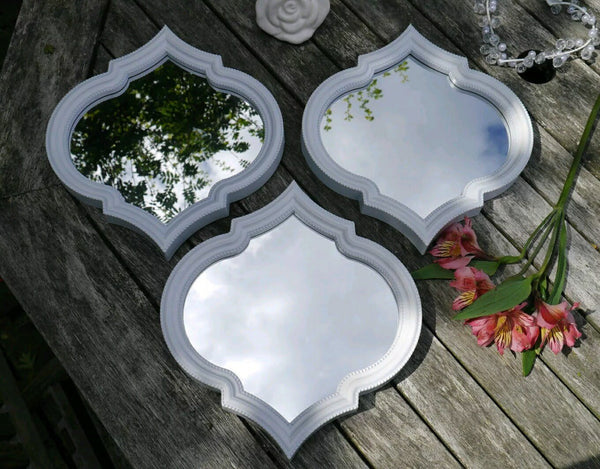 3 X ARABESQUE ARABIAN MIRROR SET TRADITIONAL WHITE RESIN DESIGN