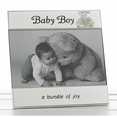 "Baby Gift Baby Boy Message Photo Frame 6""x4"" Teddy Silver Message"