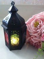 Ornate Black Dome Top Hexgon Metal Lantern MOROCCAN/ARABIAN/INDIAN Decor Traditional Vintage Kasbah