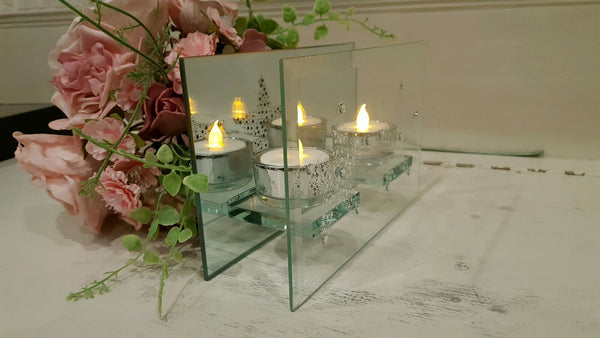 Twin Star Gem Studed Mirror Tealight Candle Holder