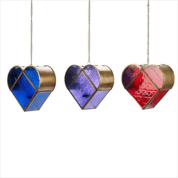 3 x ASSORTED GLASS WEDDING MOROCCAN INDIAN HEART TEALIGHT HOLDER NEW