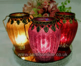 Moroccan Arabian Frosted Tealight Candle Lanterns