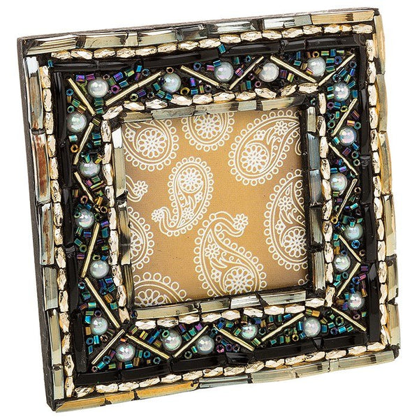 "Peacock Pearl Photo Frame 2"" x 2"" Indian Arabian Wedding Day Gift Boxed Elegant"