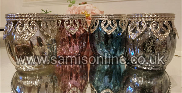 Moroccan Arabian Indian Pastel Candle Holders Rare