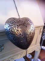 19cm MOROCCAN HANGING HEART TEA LIGHT CANDLE HOLDER CUTOUT METAL LARGE STUNNING